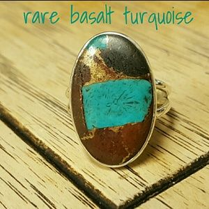 Rare Basalt Turquoise Ring Sterling Silver